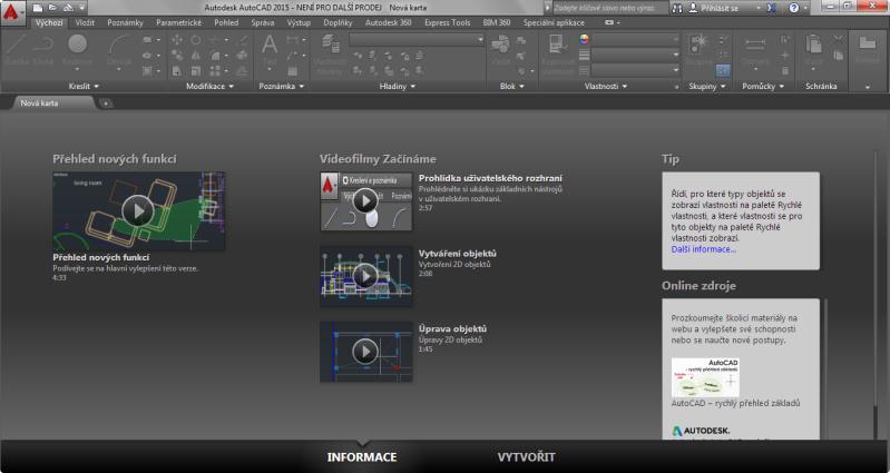 AutoCAD 2015 - Úvodní obrazovka