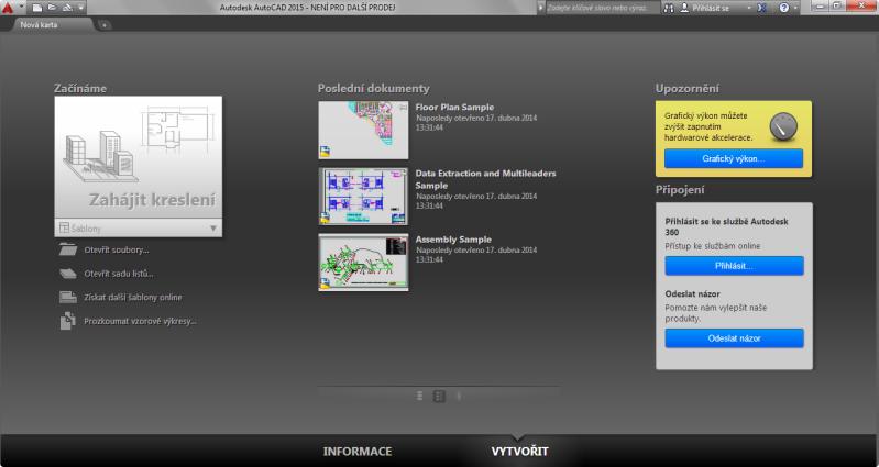 AutoCAD 2015 - Karta Vytvořit úvodní obrazovky