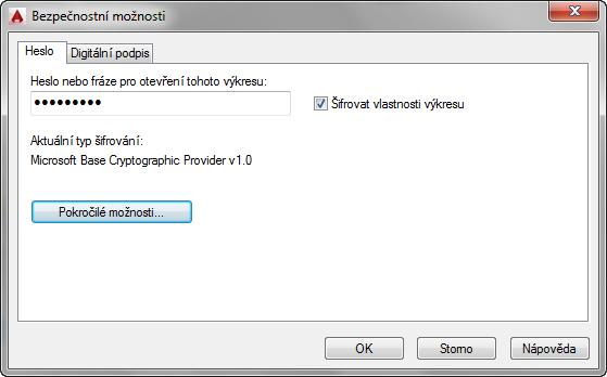 AutoCAD - Dialogové okno Uložit výkres jako