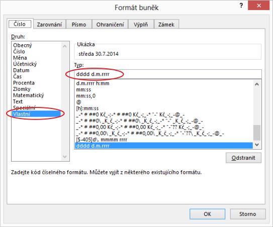 Nastavení formátu buňky pro zobrazení názvu dne adatumu vMicrosoft Excel