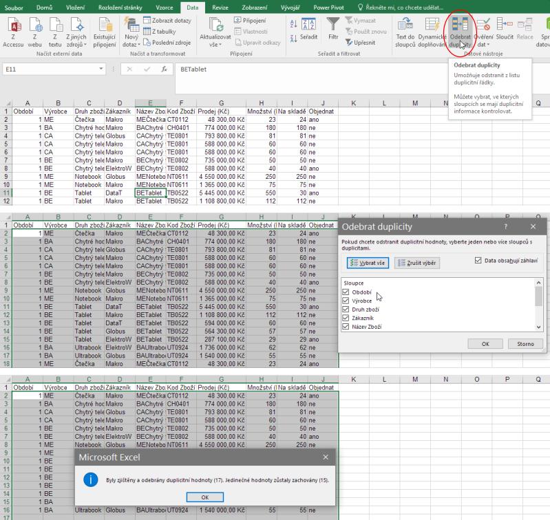 Odebrání duplicitních hodnot vMicrosoft Excel