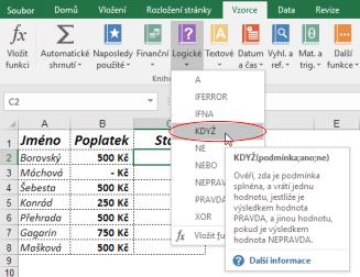 Vložení funkce KDYŽ vMicrosoft Excel