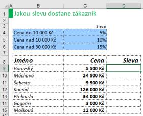 Příklad na použití vnořené funkce KDYŽ vMicrosoft Excel
