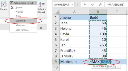 Nalezení nejvyšší hodnoty voblasti dat vMicrosoft Excel
