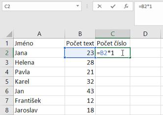 Převod textu na číslo pomocí matematické operace