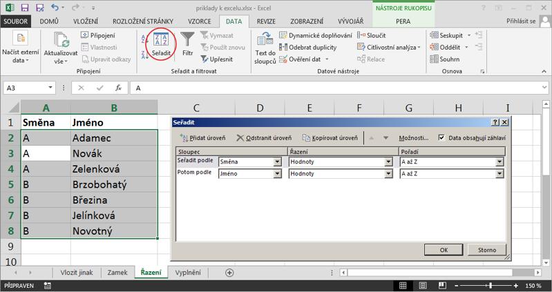 Postup při řazení dat podle více sloupců vMicrosoft Excel