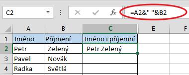 Spojení textu zvíce buněk vMicrosoft Excel