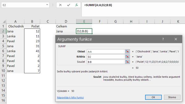 Argumenty funkce SUMIF vMicrosoft Excel