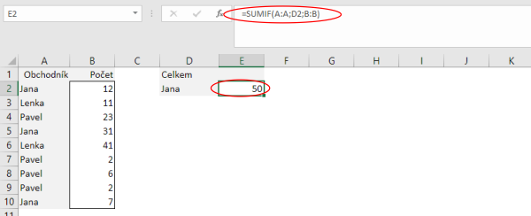 Funkce SUMIF v Microsoft Excel