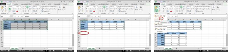 Postup při otočení sloupců ařádků tabulky vMicrosoft Excel