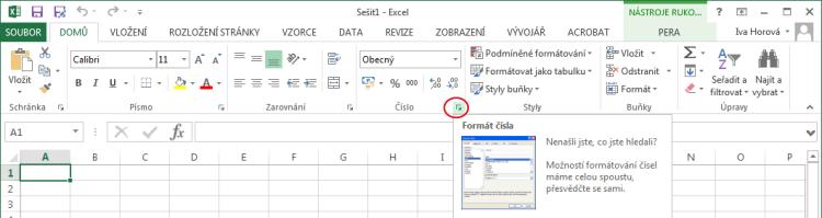 Zobrazení dialogu Formát buněk vMicrosoft Excel
