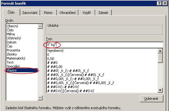 Nastavení vlastního formátu vMicrosoft Excel