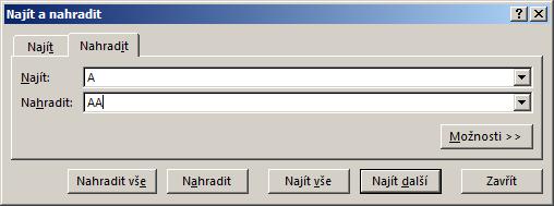 Dialog Najít anahradit vMicrosoft Excel