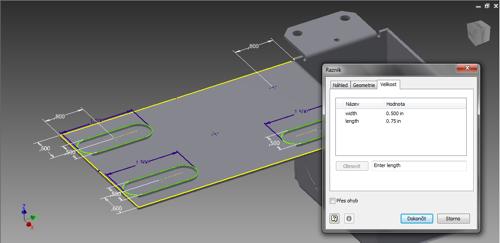Výběr bodů při použití razníku vAutodesk Inventor 2015