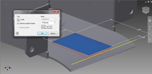 Funkce Vyříznout napříč ohybem vAutodesk Inventor 2015