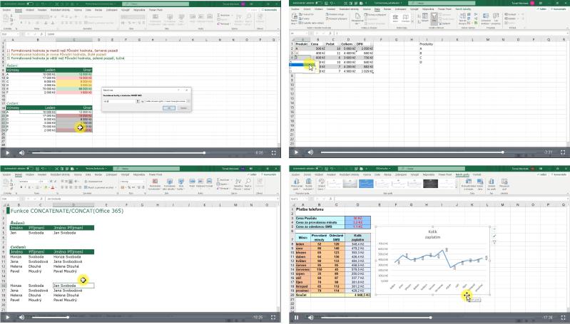 Ukázky zvideo školení Excel mírně pokročilý