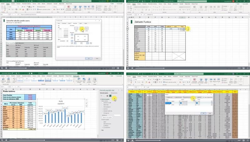 Ukázky zvideo školení Excel základní