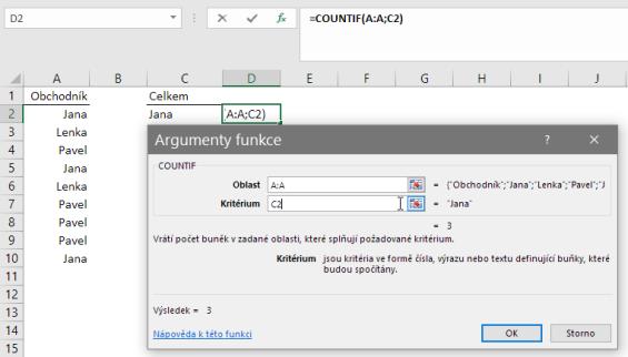 Argumenty funkce COUNTIF vMicrosoft Excel