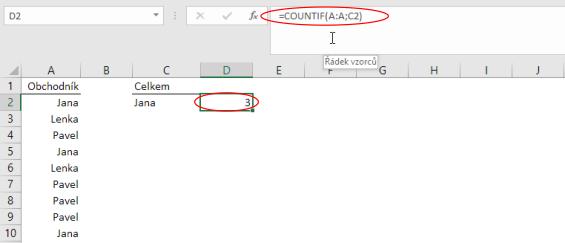 Funkce COUNTIF vMicrosoft Excel