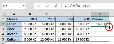 Rychlé kopírování vzorce do dalších řádků tabulky vMicrosoft Excel
