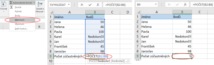 Funkce POČET vMicrosoft Excel