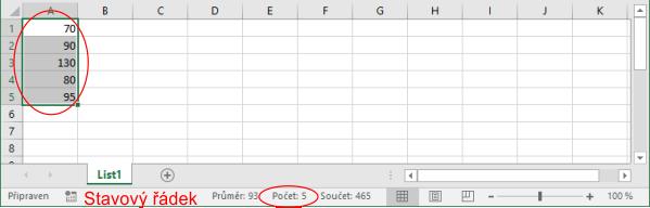 Zobrazení počtu neprázdných buněk na stavovém řádku vMicrosoft Excel