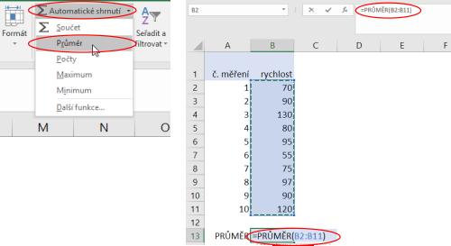 Výpočet průměrné hodnoty vMicrosoft Excel