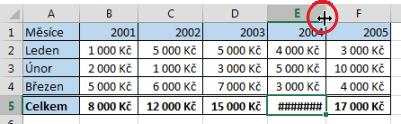 Přizpůsobení šířky sloupce vMicrosoft Excel