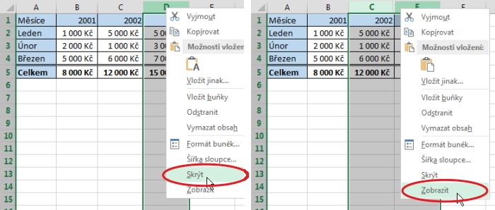 Skrytí aopětovné zobrazení sloupce vMicrosoft Excel