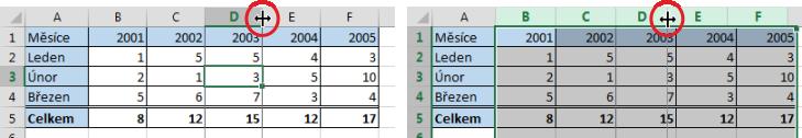 Změna šířky jednoho sloupce, změna šířky více sloupců zároveň vMicrosoft Excel
