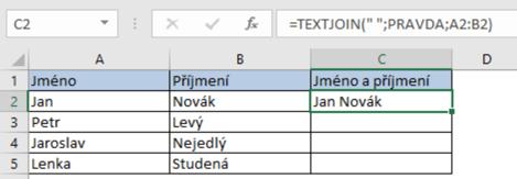 Spojení textu zvíce buněk do jedné pomocí funkce TEXTJOIN